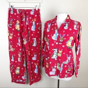 Nick & Nora Red Dog Christmas Flannel PJs Set Smal